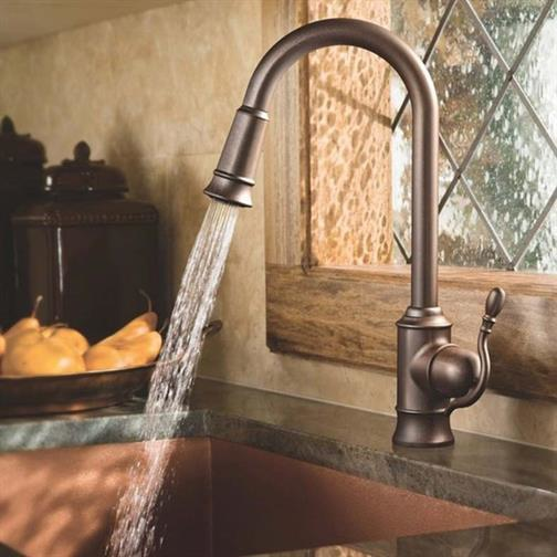 Stylish brushed gunmetal faucet